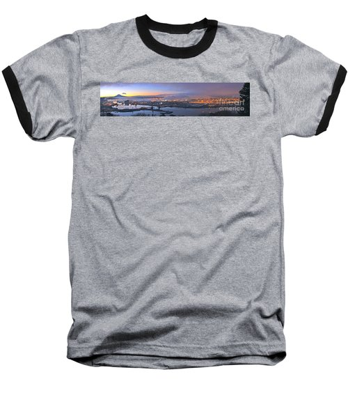 Tacoma Dawn Panorama Baseball T-Shirt by Sean Griffin