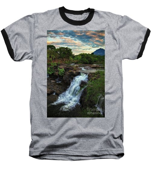 Tad Lo Waterfall, Bolaven Plateau, Champasak Province, Laos Baseball T-Shirt by Sam Antonio Photography