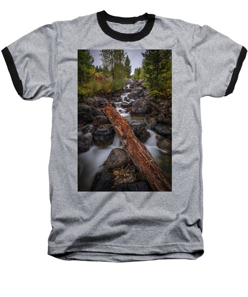 Taggert Creek Waterfall Log Baseball T-Shirt