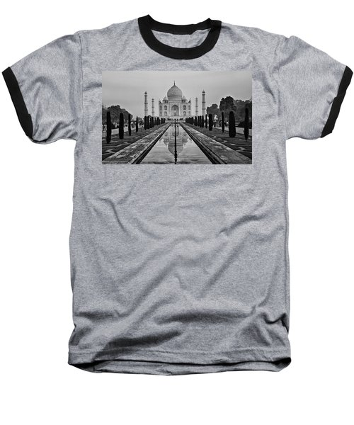 Taj Mahal In Black And White Baseball T-Shirt by Jacqi Elmslie