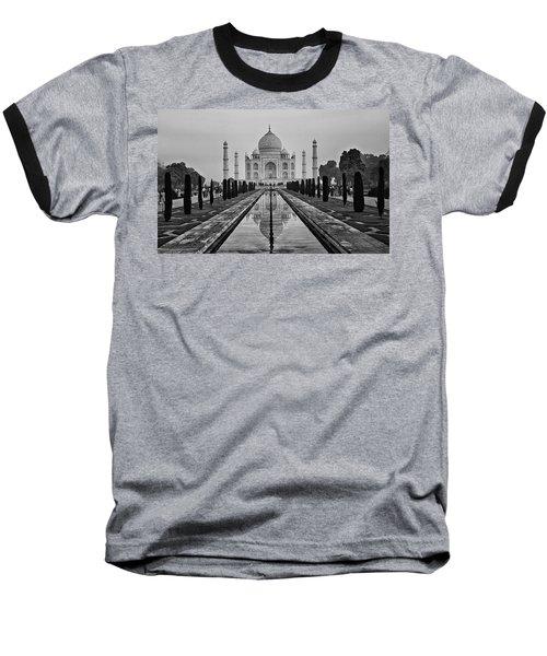 Taj Mahal In Black And White Baseball T-Shirt