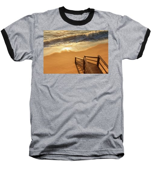 Take The Stairs To The Waves Baseball T-Shirt by Joni Eskridge