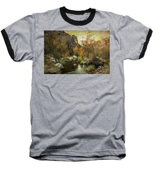 Taking A Hike Baseball T-Shirt by Barbara Manis