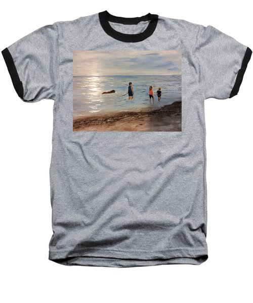 Taking A Newfoundland For A Walk Along The Beach Baseball T-Shirt