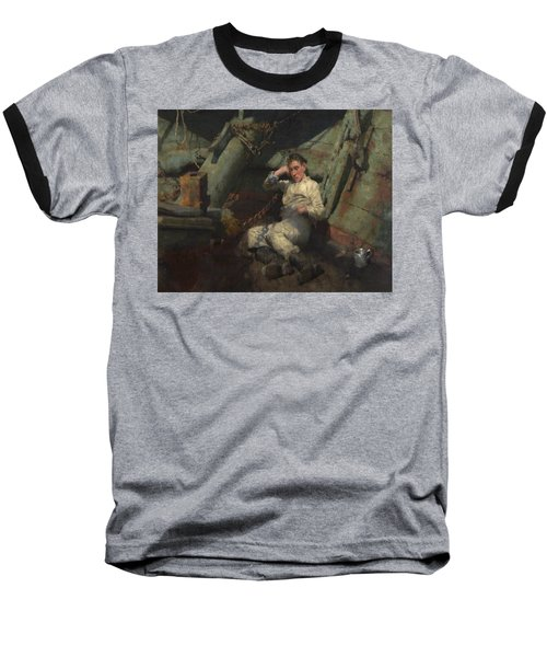 Baseball T-Shirt featuring the painting Taking A Spell  by Henry Scott Tuke