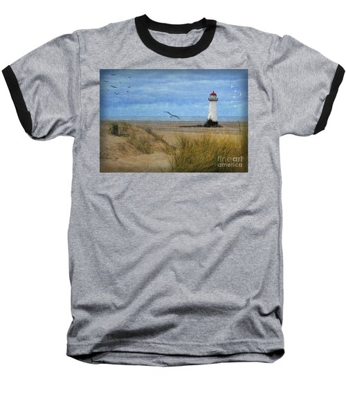 Baseball T-Shirt featuring the digital art Talacre Lighthouse - Wales by Lianne Schneider