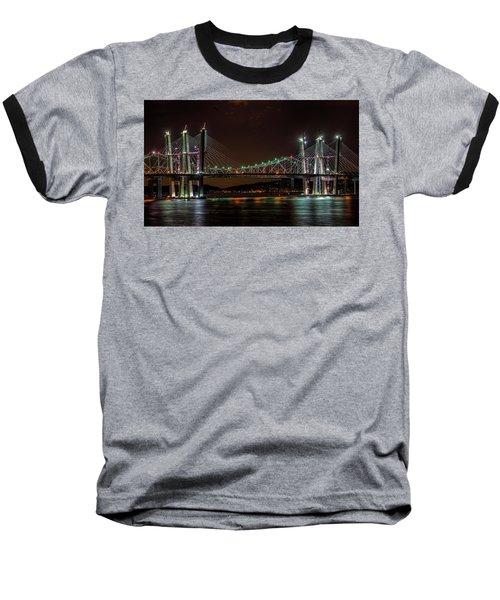 Tale Of 2 Bridges At Night Baseball T-Shirt