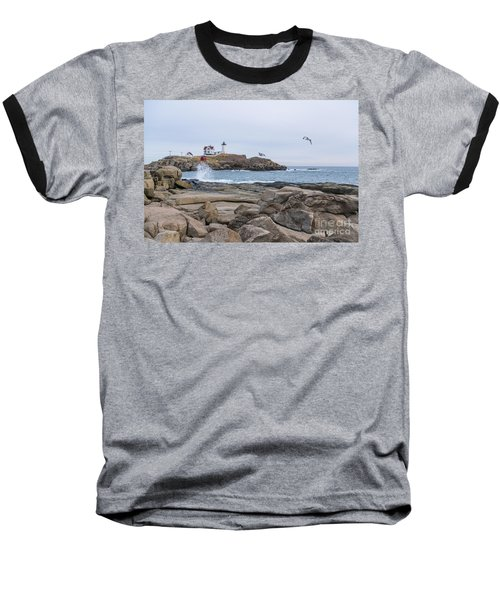 Tale Of Two Lighthouse Baseball T-Shirt by Patrick Fennell