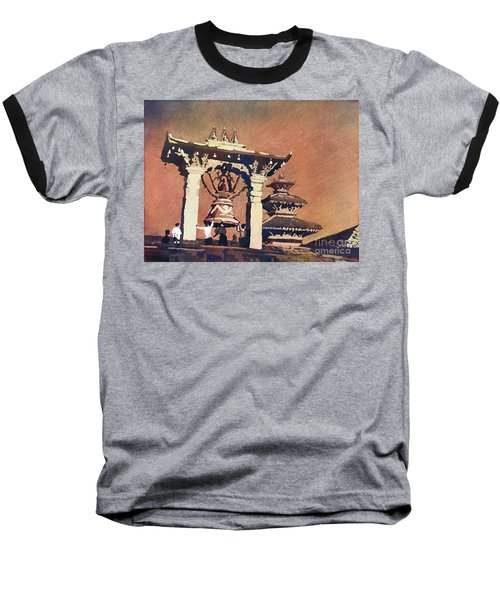 Baseball T-Shirt featuring the painting Taleju Bell- Patan, Nepal by Ryan Fox