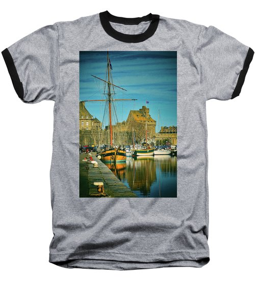Tall Ship In Saint Malo Baseball T-Shirt