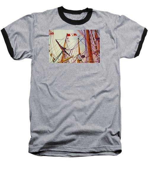 Tall Ship Lines Baseball T-Shirt