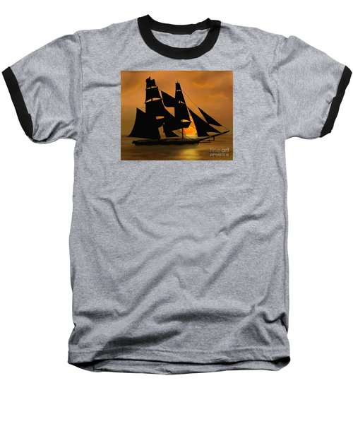Baseball T-Shirt featuring the painting Tall Ship With A Harvest Moon by Judy Filarecki
