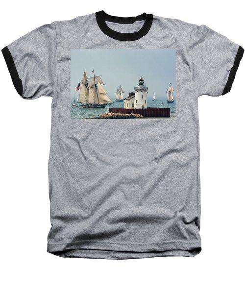 Tall Ships At Cleveland Lighthouse Baseball T-Shirt