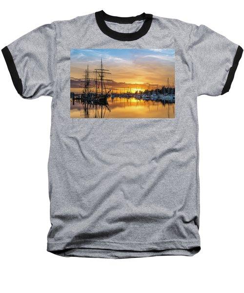 Tall Ships Sunset 1 Baseball T-Shirt by Greg Nyquist