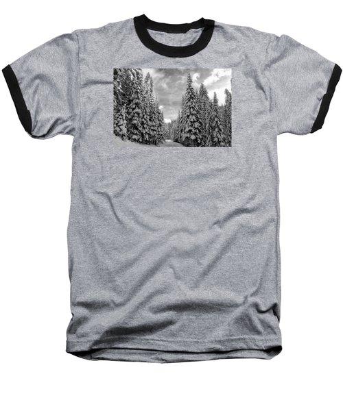 Tall Snowy Trees Baseball T-Shirt by Lynn Hopwood