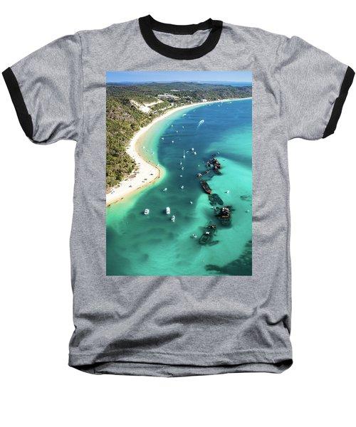 Tangalooma Wrecks Baseball T-Shirt by Peta Thames