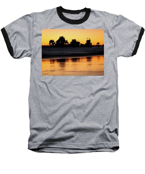 Tangalooma Wrecks Sunset Silhouette Baseball T-Shirt