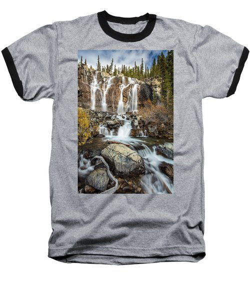 Tangle Waterfall On The Icefield Parkway Baseball T-Shirt