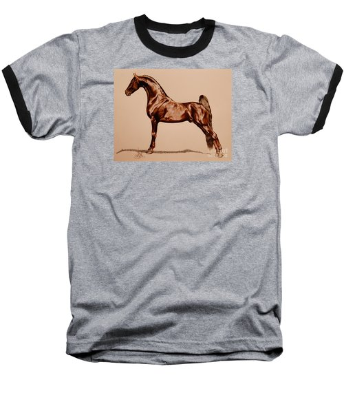 Tangos Daylight - Saddlebred Stallion Baseball T-Shirt by Cheryl Poland