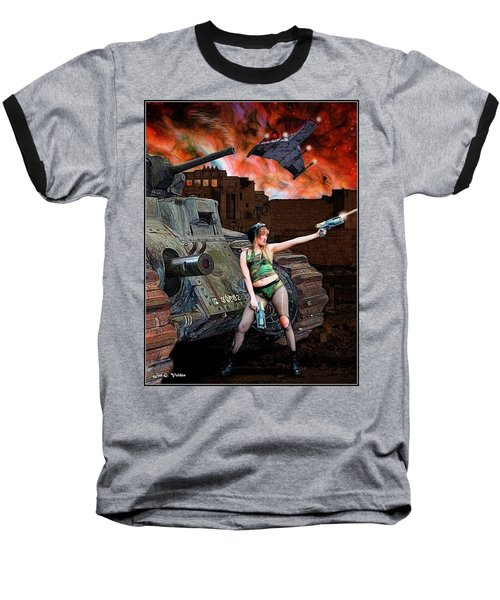 Tank Girl In Action Baseball T-Shirt