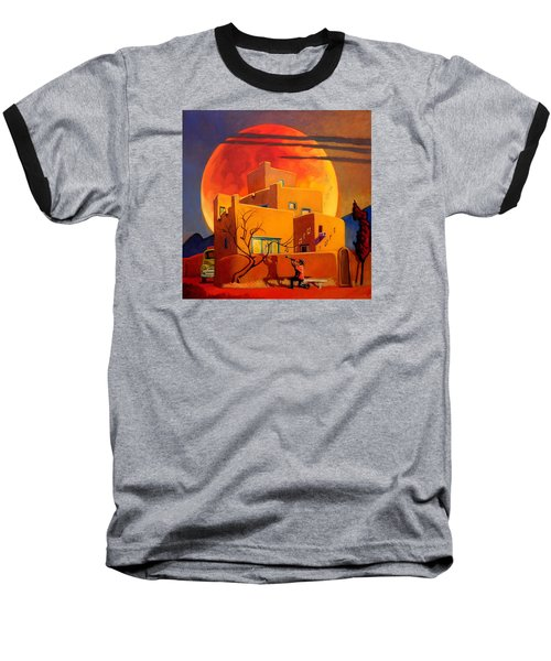 Baseball T-Shirt featuring the painting Taos Wolf Moon by Art West