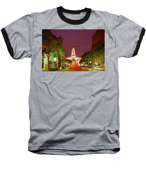 Tarrant County Courthouse At Twilight - Fort Worth North Texas Baseball T-Shirt