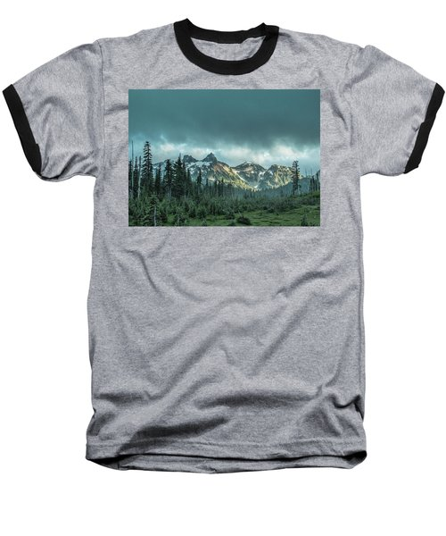 Tatoosh With Storm Clouds Baseball T-Shirt