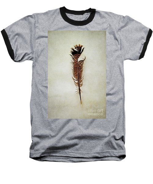 Baseball T-Shirt featuring the photograph Tattered Turkey Feather by Stephanie Frey