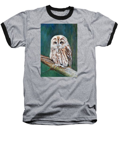 Tawny Owl Baseball T-Shirt by Veronica Rickard