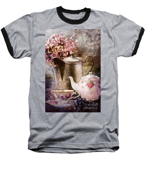 Baseball T-Shirt featuring the painting Tea And Grapes by Mo T