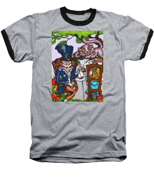 Baseball T-Shirt featuring the drawing Tea Party by Rae Chichilnitsky