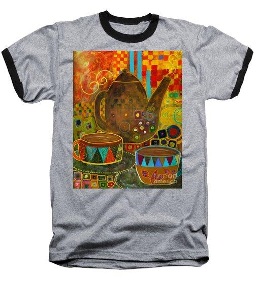 Tea Party With Klimt Baseball T-Shirt by Robin Maria Pedrero