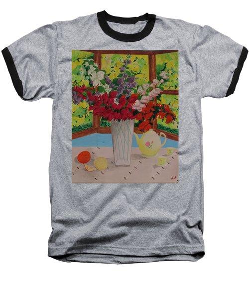 Tea Time Baseball T-Shirt by Hilda and Jose Garrancho