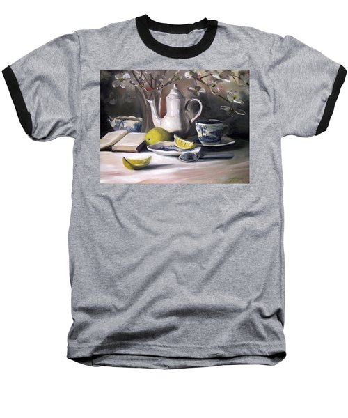 Baseball T-Shirt featuring the painting Tea With Lemon by Nancy Griswold
