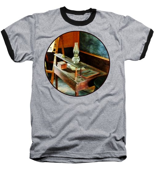 Teacher - Teacher's Desk With Hurricane Lamp Baseball T-Shirt by Susan Savad