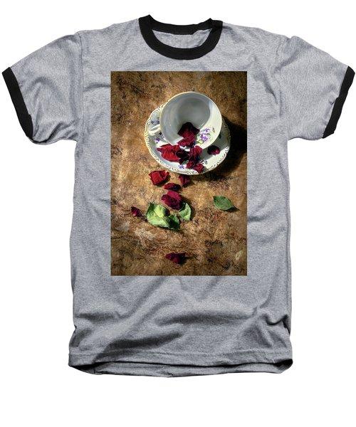 Teacup And Red Rose Petals Baseball T-Shirt
