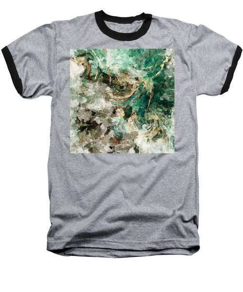 Baseball T-Shirt featuring the painting Teal And Cream Abstract Painting by Ayse Deniz