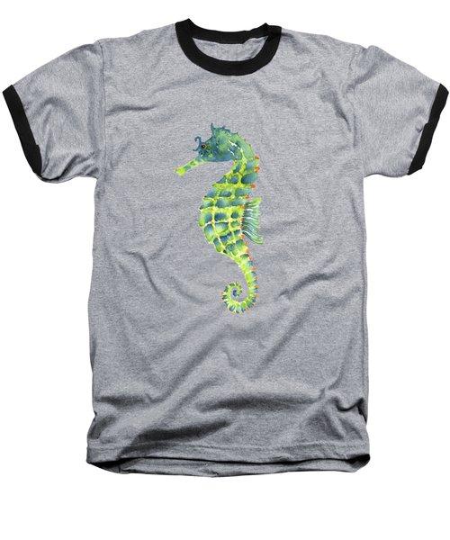 Teal Green Seahorse Baseball T-Shirt