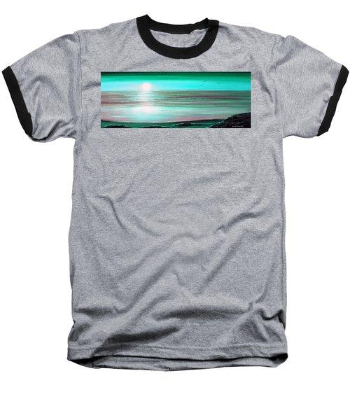 Teal Panoramic Sunset Baseball T-Shirt
