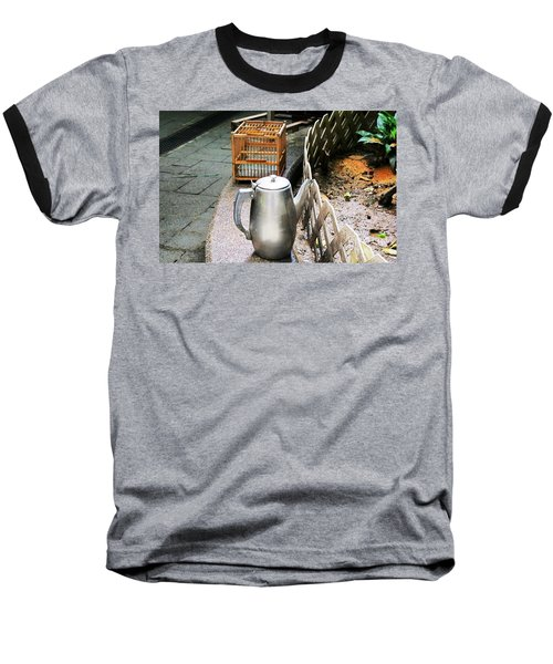 Baseball T-Shirt featuring the photograph Teapot And Birdcage by Ethna Gillespie
