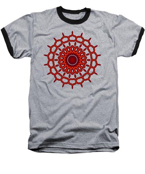 Teardrop Fractal Mandala Baseball T-Shirt