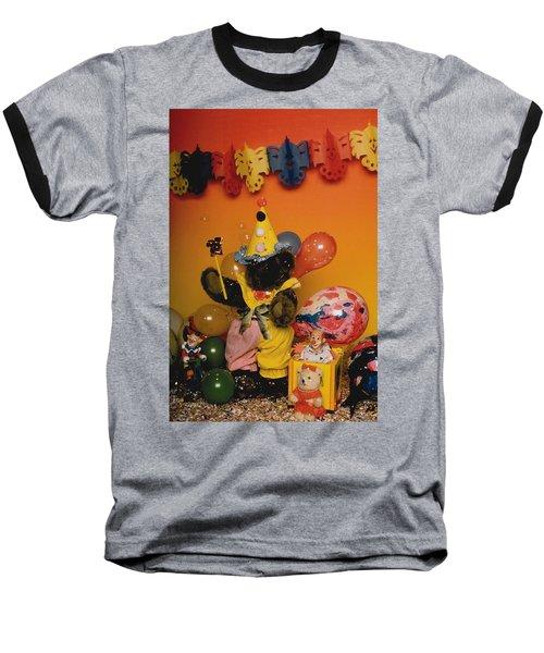 Teddy Bear Celebrates, Birthday Teddy Bear Baseball T-Shirt