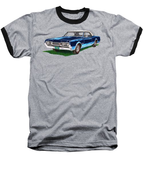 Tee Shirt Art 1967 Oldsmobile 4 4 2 Convertible Baseball T-Shirt by Jack Pumphrey