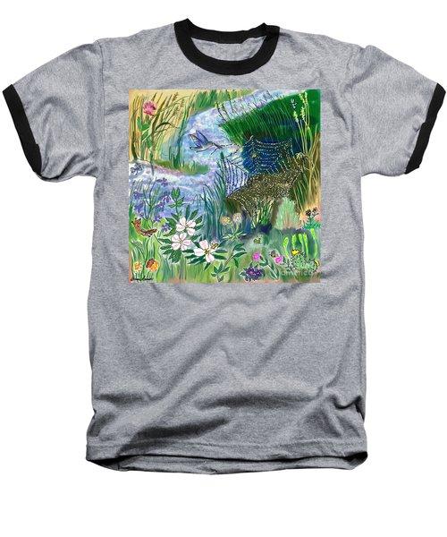 Teen Drawing -- Hummingbird Collecting Silk Baseball T-Shirt by Dawn Senior-Trask