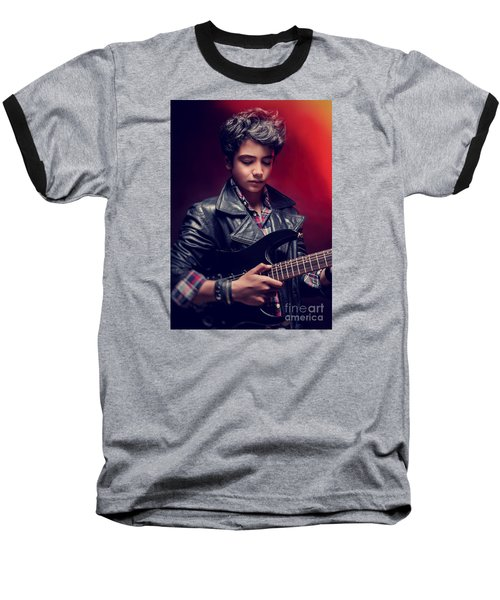 Teen Guy Playing On Guitar Baseball T-Shirt