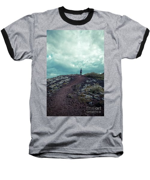 Baseball T-Shirt featuring the photograph Teenager On A Hiking Trail In Iceland by Edward Fielding