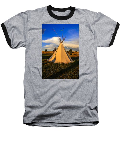 Teepee In Montana Baseball T-Shirt by Chris Smith