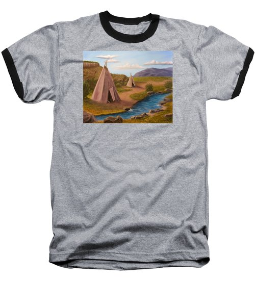 Teepees On The Plains Baseball T-Shirt by Sheri Keith