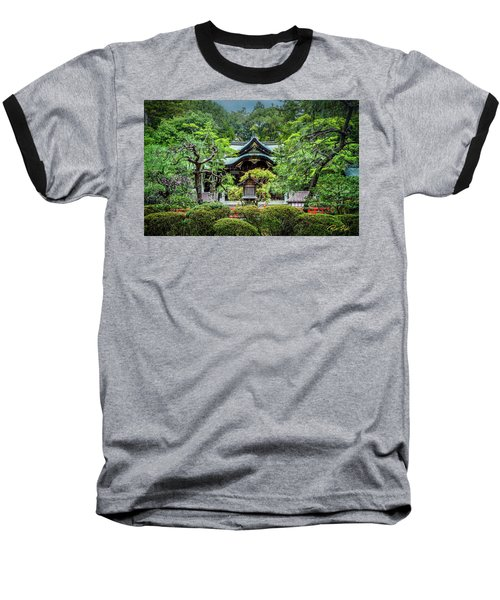 Baseball T-Shirt featuring the photograph Temple In The Rain by Rikk Flohr