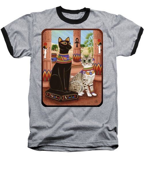Baseball T-Shirt featuring the painting Temple Of Bastet - Bast Goddess Cat by Carrie Hawks